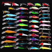 POETRYYI 48PCS/Lot 8 styles Wobbler Fishing Lures Classic Style Minnow Bait Tackle  Lure Set 30