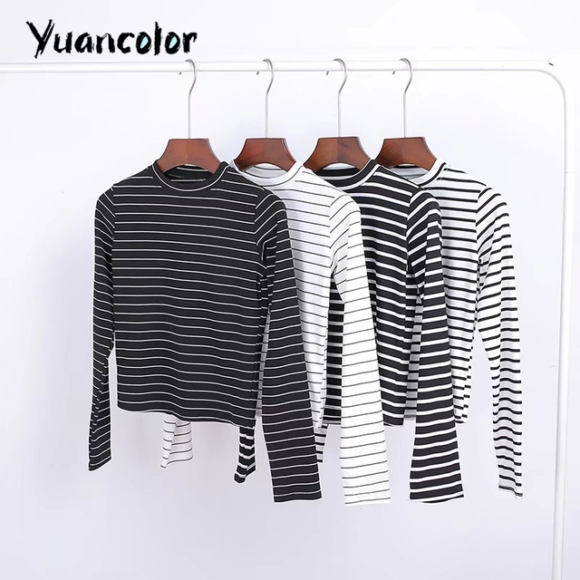 Women Long Sleeve O-neck Tops crop t-shirts Knit Rib Black white stripes Crop Bardot Top Woman Sexy slim short T shirt Top