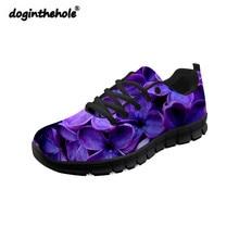 цены на Doginthehole Purple Lilac Pattern Sneakers Woman Sports Breathable Light Women Walking Shoes Outdoor Non-slip Black Zapatillas  в интернет-магазинах