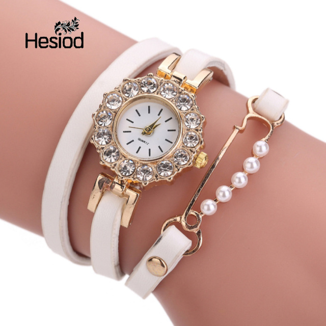 Hesiod Small Imitation Pearl Pin Crystal Bracelet Watches Women Multilayer Leath