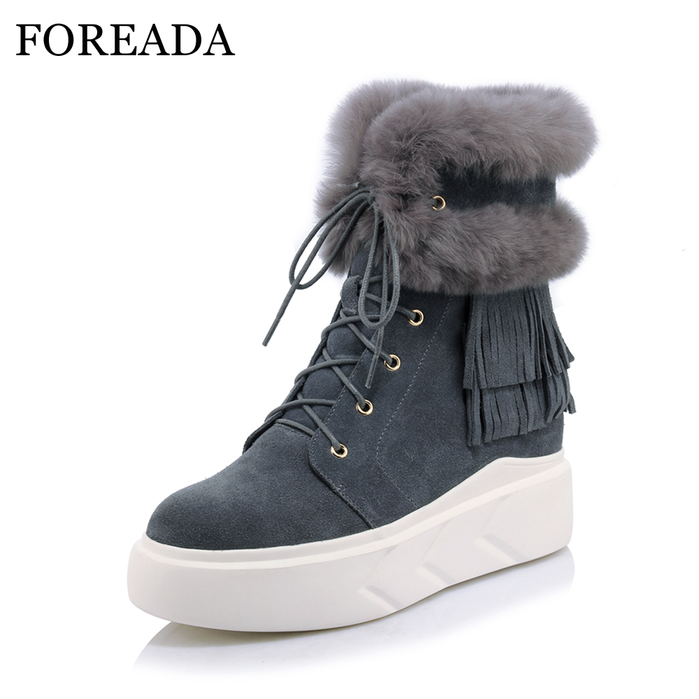 цены FOREADA Winter Boots Genuine Leather Ankle Boots Fringe Platform Wedge Snow Boots Lace Up Cow Suede Rabbit Fur Shoes Gray Black