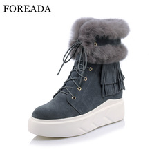 Здесь можно купить   FOREADA Winter Boots Genuine Leather Ankle Boots Fringe Platform Wedge Snow Boots Lace Up Cow Suede Rabbit Fur Shoes Gray Black Women
