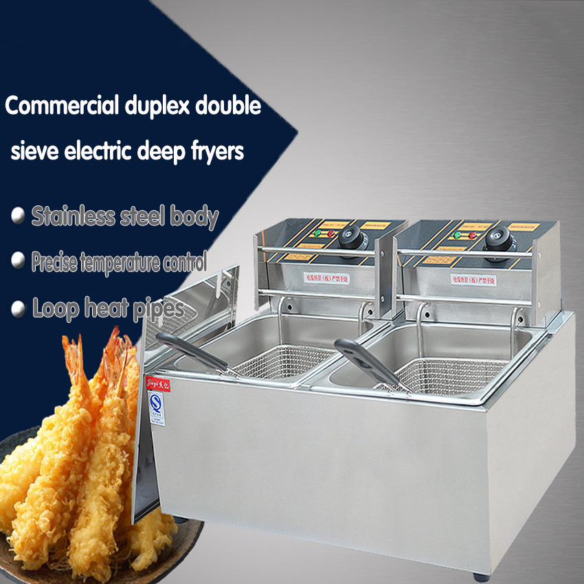 1PC Stainless Steel Commercial Electric Deep Fryer Frying Machine high power deep fryers fast heating  French fries ect Картофель фри