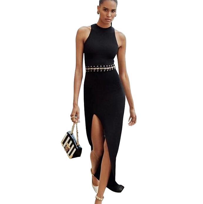 Черное длинное платье Соблазнительные вечерние модные элегантные женские