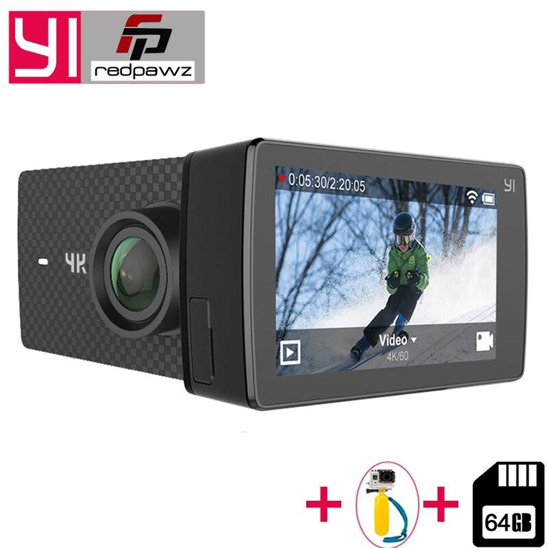 Добавить Бесплатная 64 ГБ SD карты для Xiaomi Yi 4k + действие Камера Ambarella H2 4 К/60fps 12MP 155 градусов 2,19 сырые Yi 4k Plus спортивные Камера