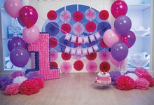 Laeacco Balloon Flower Scene Baby 1st Birthday Party Photography Backgrounds Customized Photographic Backdrops For Photo Studio