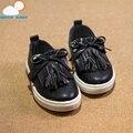 Calidad suave lindo cómodo primavera girls shoes princesa de la borla de pisos zapatillas para niños zapatos de bebé de cuero niño niños entrenadores