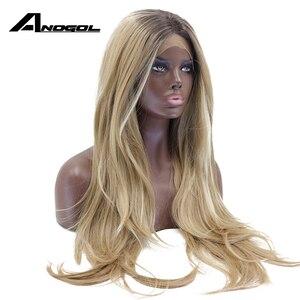 Image 3 - Anogol длинный коричневый Омбре блонд хайлайтер высокотемпературное волокно натуральные волны синтетический кружевной фронтальный парик для женщин Американский Африканский