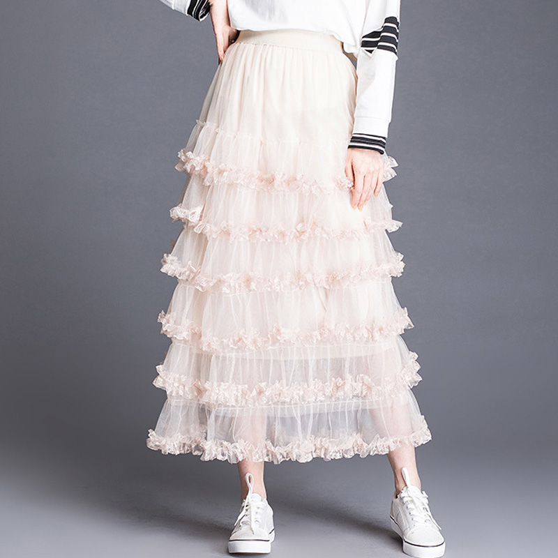Elegante Alta Vestido Primavera Lu Falda Slim Wqc572 2019 Mujer Cintura khaki apricot Faldas Hadas Vela Black Patchwork white Malla De 8PXw4wqO