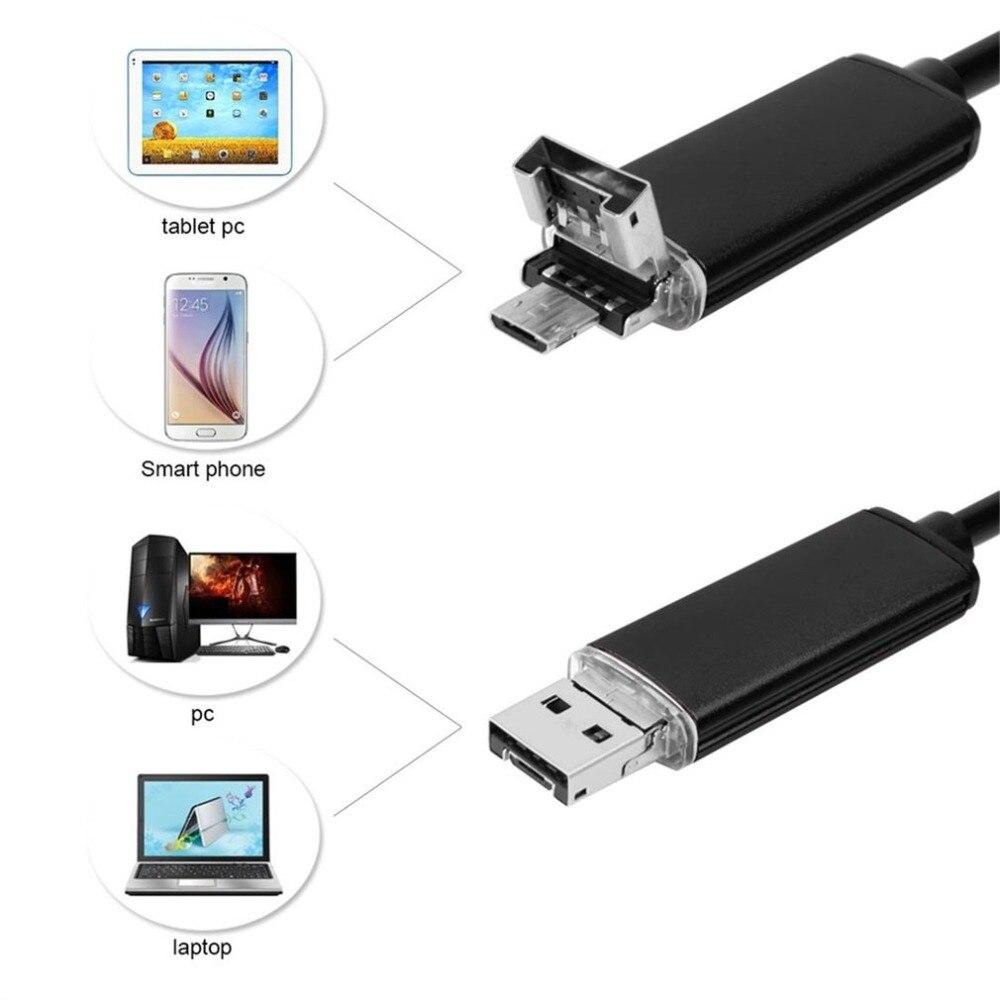 5.5mm 2 m/5 m/10 m 2 Em 1 Smartphone USB Inspeção Endoscópio de Luz de Exposição Automática câmera Para Android 6 LED no Hard-to-Reach