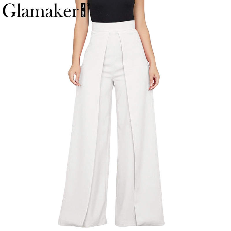Glamaker White high waist   wide     leg     pants   capris Women casual   pants   bottoms Summer pleated black elegant party club trousers