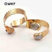 WT B434 WKT Vintage kadınlar takı ayarlanabilir çift inci bileklik altın metal elektroliz pirinç dayanıklı tarnishable