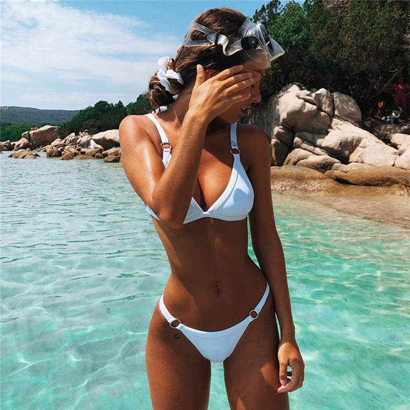 2018 el más nuevo Halter Sexy Bikinis mujeres baño traje Biquinis Bikini, Bikini brasileño, trajes de baño ropa de playa nadar