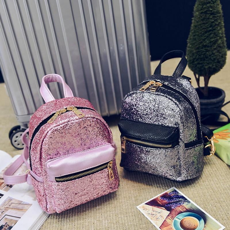 Glitter Backpack Small Mochilas School-Bag Sequin Teenage Girls Fashion Women Zipper