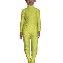 Детский Желтый Лайкры одежда из спандекса для танцев костюмы зентай костюм юнитард без капюшона и руки