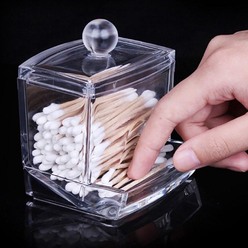 Acrylic Holder Box Clear Transparent Cotton Stick Cosmetic Makeup Organizer Case