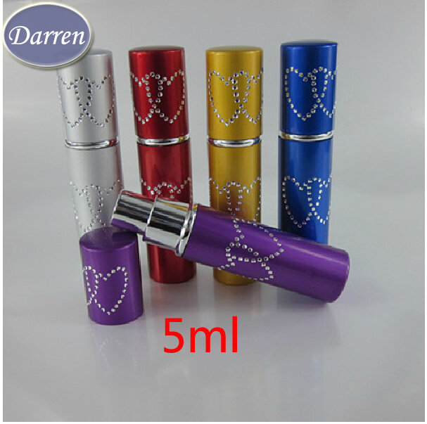Wholesale Mix Order 5ml 20pcs/lot Metal Shell GlassInner Aluminum Nozzle  Atomizer Perfume Bottle Spray Refillable Bottles