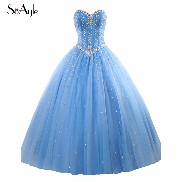c5fc6a620 SoAyle Real Picture Vestidos de festa Ball Gown Quinceanera Dress Tulle  Crystal 2017 Party Long Dress Bling Bling 16 Prom Gowns