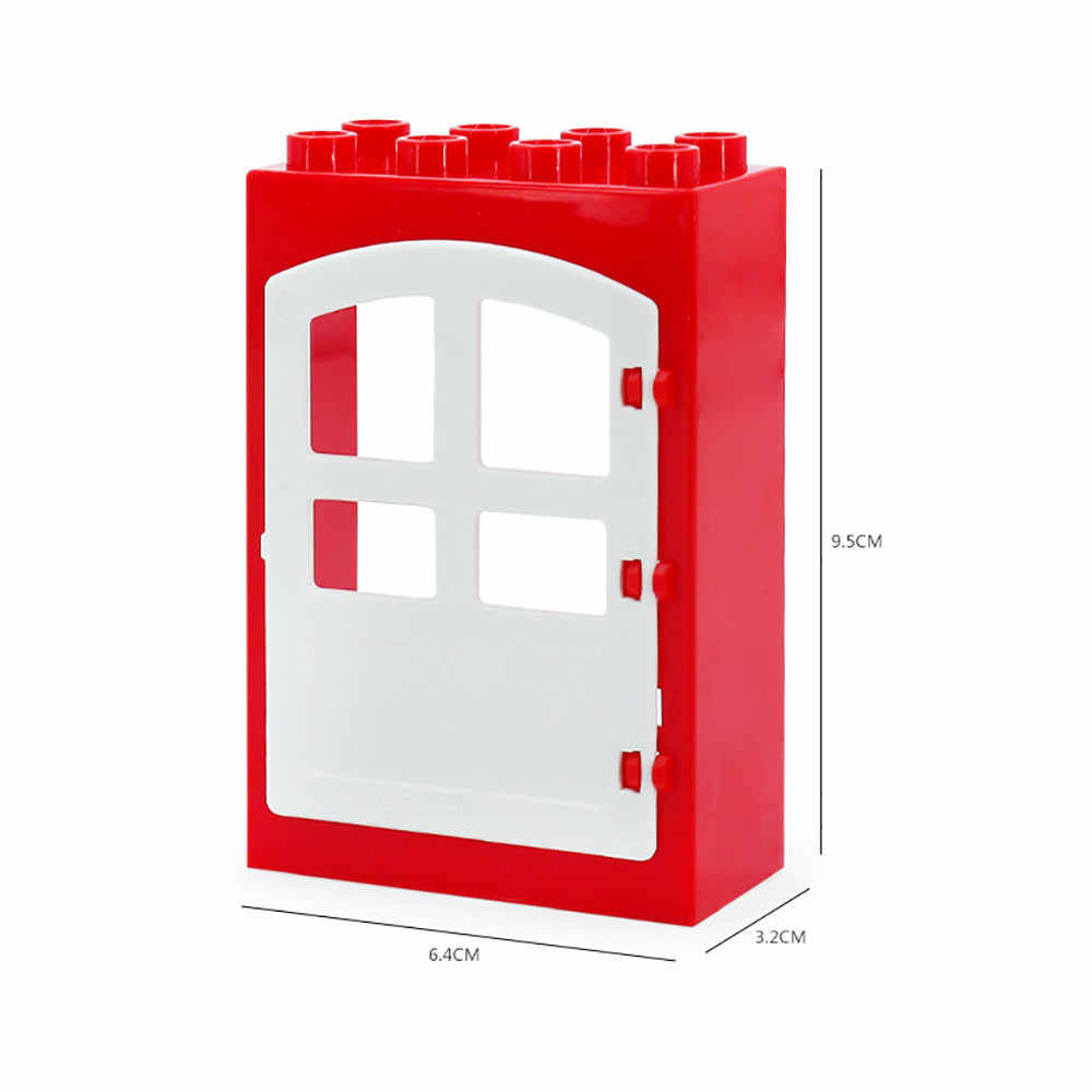 Legoing Duploed Besar Partikel Besar Blok Bangunan Aksesoris Pintu Jendela Payung Swing Slide Mainan untuk Anak-anak Hadiah