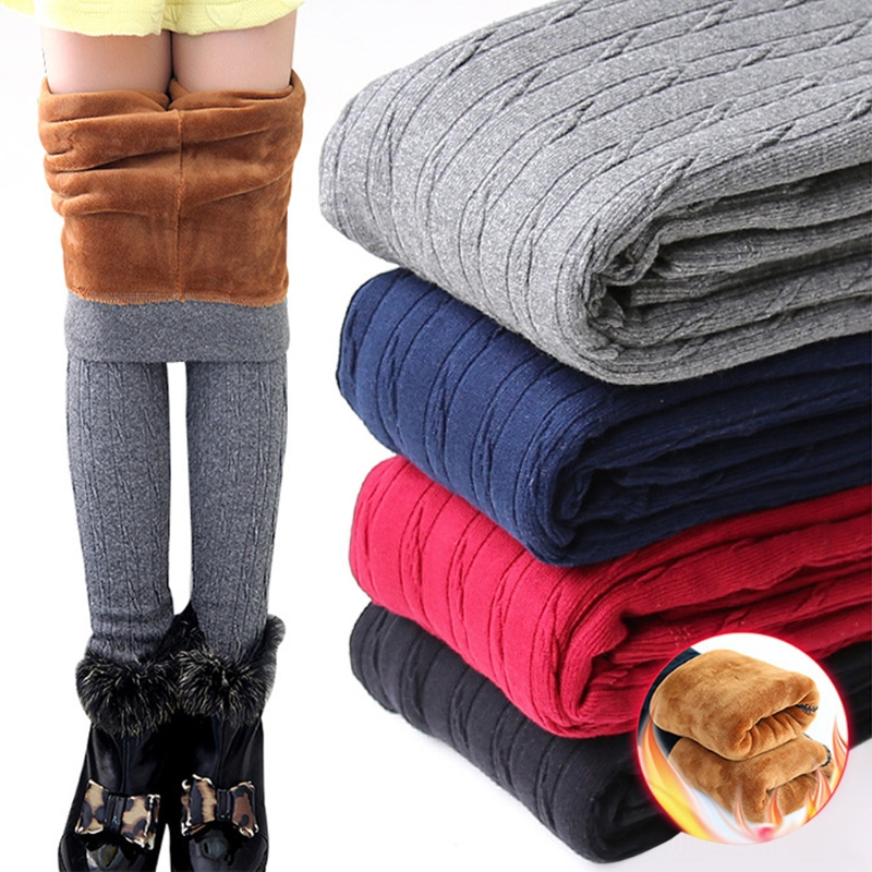 Winter Baby Girls Leggings Thicker Warmer Elastic Cotton Fleece Knit Pants Solid-M15
