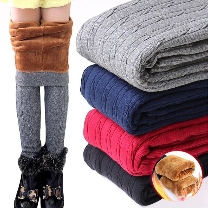 FäHig Winter Baby Mädchen Leggings Dicker Wärmer Elastische Baumwolle Fleece Stricken Hosen Solid-m15