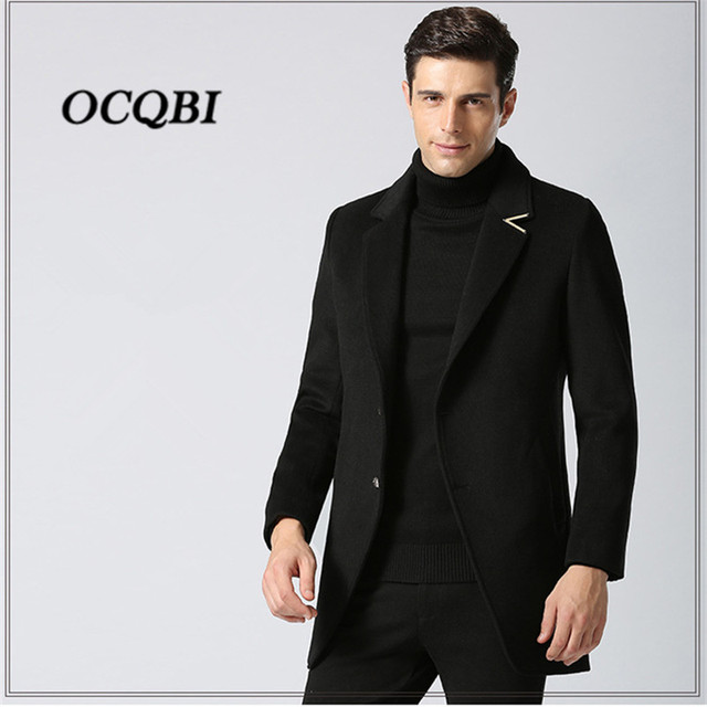 d1014f2f0d Plus Size 2018 Slim Smart Casual Formal Wool Mens Clothing Overcoats Fashion  Winter Dress Coat Mens