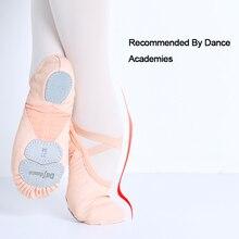 Dance Academyสามนุ่มแยกรองเท้าบัลเล่ต์รองเท้าผู้ใหญ่ผู้หญิงผ้ายืดตาข่ายSpliceเต้นรำรองเท้าแตะ