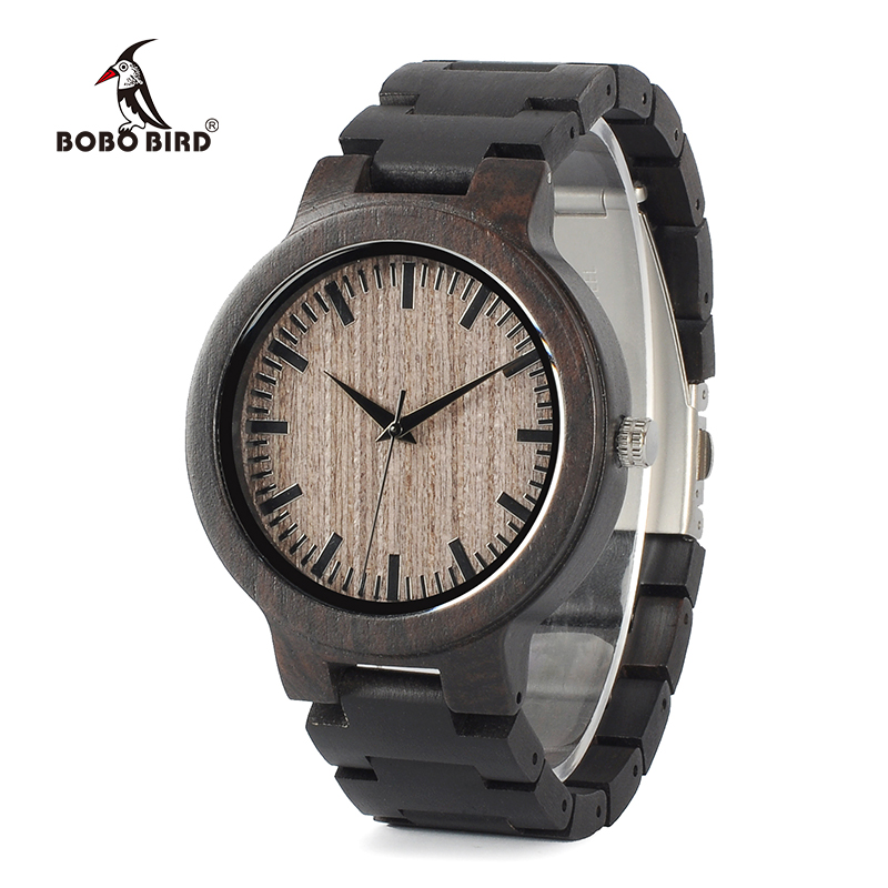 BOBO BIRD WC30 Mens Wood Watch Full Ebony Wooden Quartz Watches Japan 2035 Miyota Movement Wood Band Watch for Men