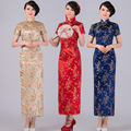 5 Color Traditional Chinese Elegant Women's Satin Long Cheongsam Qipao Short Sleeves Flower Print Party Dresses