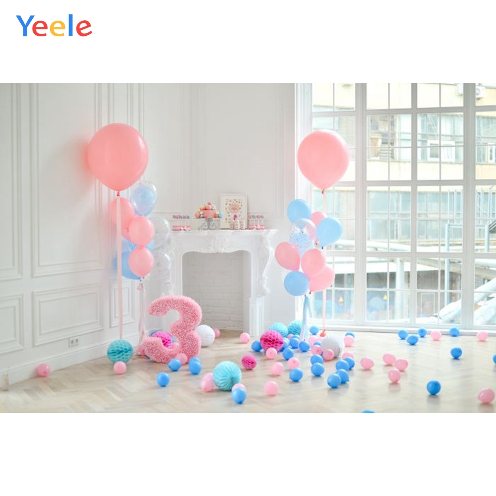 Yeele 2 Year Birthday Backdrops Balloons Fireplace Portrait Interior Photography Backgrounds Customized For The Photo Studio
