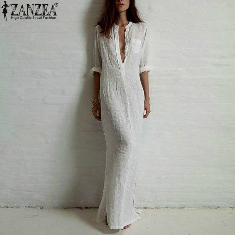 Elegant Maxi Shirt Dress Women Summer Sundress 2020 ZANZEA Vintage  V Neck Split Long Vestidos Female Long Sleeve Tunic Robe