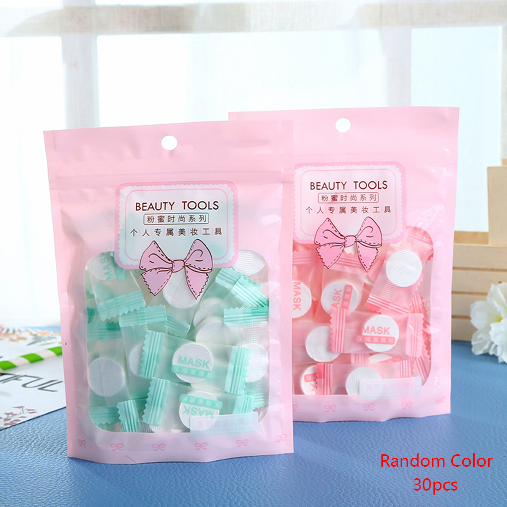 30PCS Facial Cotton Compressed Masque Disposable Wrapped Masks Sheets Tablets For DIY Skin Care