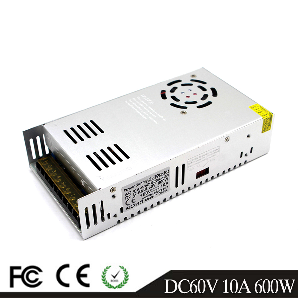 600W 60V 10A Switching power supply Driver Transformers AC110V 220V TO DC60V SMPS for Led Strip Modules Light CCTV 3D Printer-in Switching Power Supply from Home Improvement