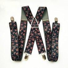 Peony FLower Print Suspenders Men Boys X Back Suspensorio Women Braces Skirt Pants Holder Match Shirt Adult Suspender BD053