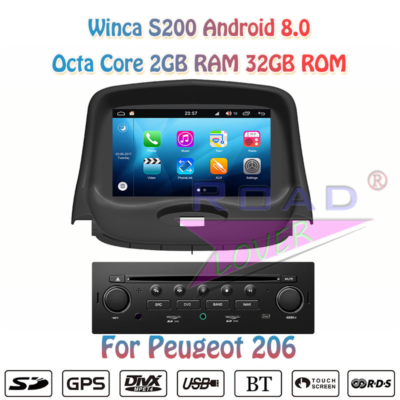 Winca S200 Android 8.0 Car Radio DVD Player Audio For <font><b>Peugeot</b></font> <font><b>206</b></font> Stereo GPS Navigation Automagnitol <font><b>2</b></font> <font><b>Din</b></font> 7