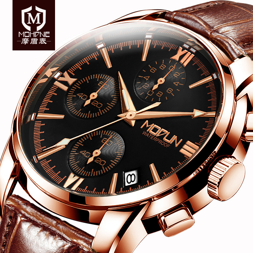 2017 Mens Wrist Watches Top Brand Luxury Leather Business Watch Multifunction Clock Multifunction Sport Saat Relogio Masculino splendid brand new boys girls students time clock electronic digital lcd wrist sport watch