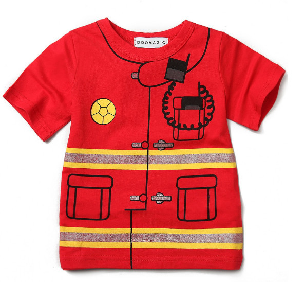 9b2aed885 Hot Selling boys and girls firefighters/police short sleeve t shirt red  Round neck cotton T Shirts Baby Clothing birthday gifts-in Tees from Mother  & Kids ...