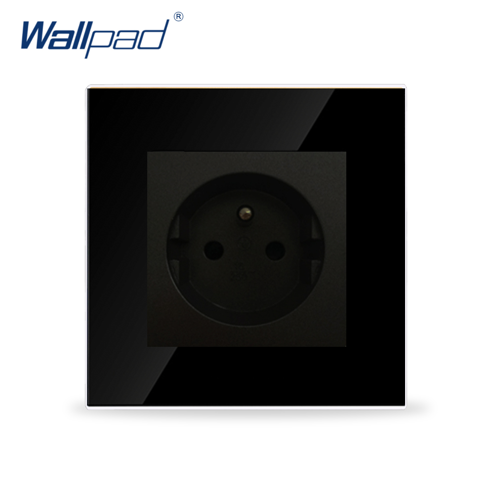 Wallpad Luxury French Socket Black Crystal Glass Switch 2 Pin French Wall Plug Socket , Free Shipping 15a 16a south africa socket and double ubs socket wallpad 146 86mm white glass 2 usb ports and 16a sa switched socket with led