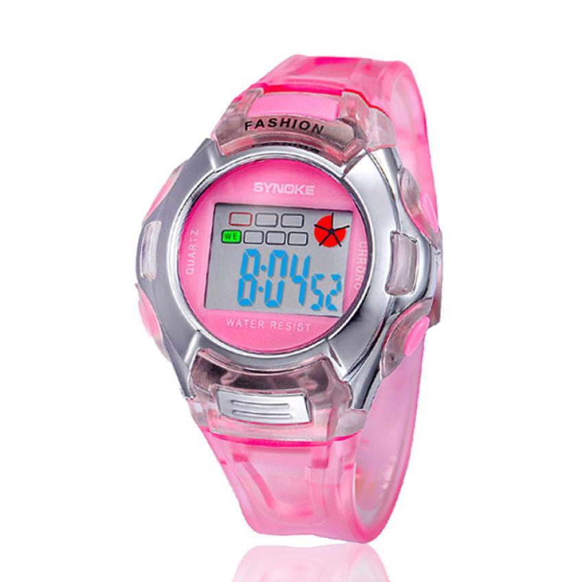 SYNOKE Kids watch LED Sports Watch digital  Alarm Date Rubber Wrist Watch baby #A