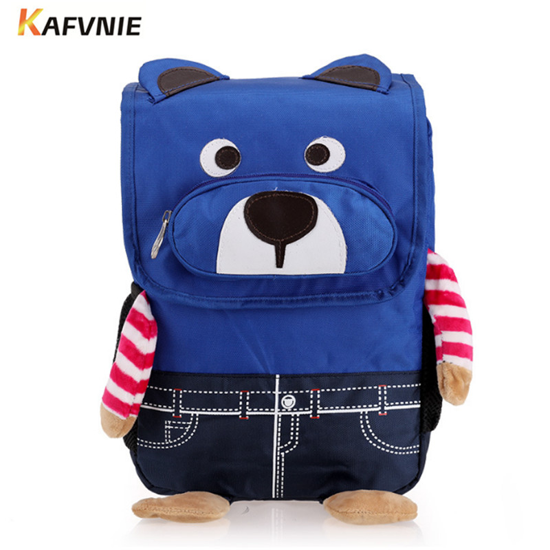 2018 3D Bags for Boy and Girls Backpack Kids  Lovely Satchel School Knapsack Baby Bags Bear  Blue School Bag