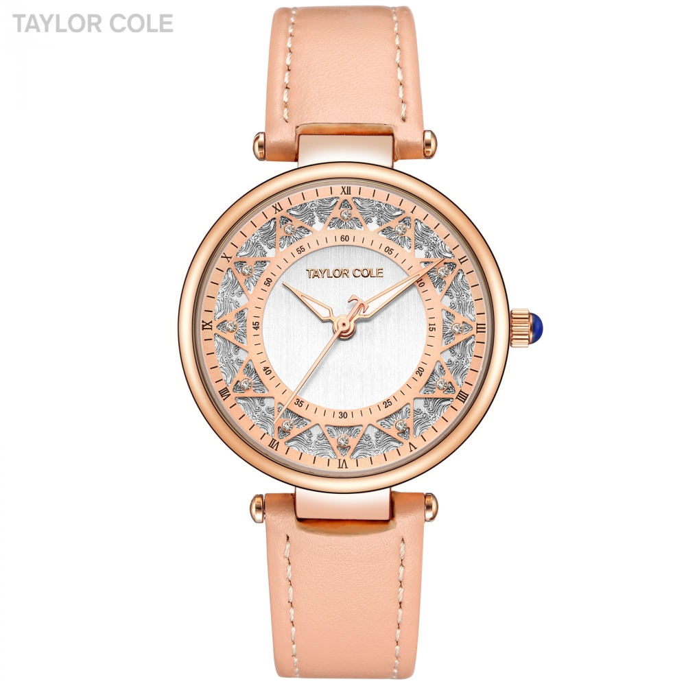 Taylor Cole Fashion Ladies Watches Rose Golden Case Leather Strap Zegarki Damskie Clock Wristwatch for Women Quartz Watch /TC105 doumoo 330 330 mm long focal length 2000 mm fresnel lens for solar energy collection plastic optical fresnel lens pmma material