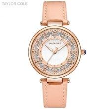 Taylor Cole moda señoras relojes caja de oro rosa correa de cuero zegarki  damskie reloj para mujeres reloj de cuarzo tc105 6a097b9f4a76