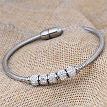 Crystal Magnetic Bangle For Women Stainless Steel Charm Bracelet