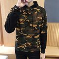 2017 Mens Fake two Hoody Jacket Sweatshirt male Top Outerwear 3 Colors Boutique men S-4xl Army green camouflage Hooded