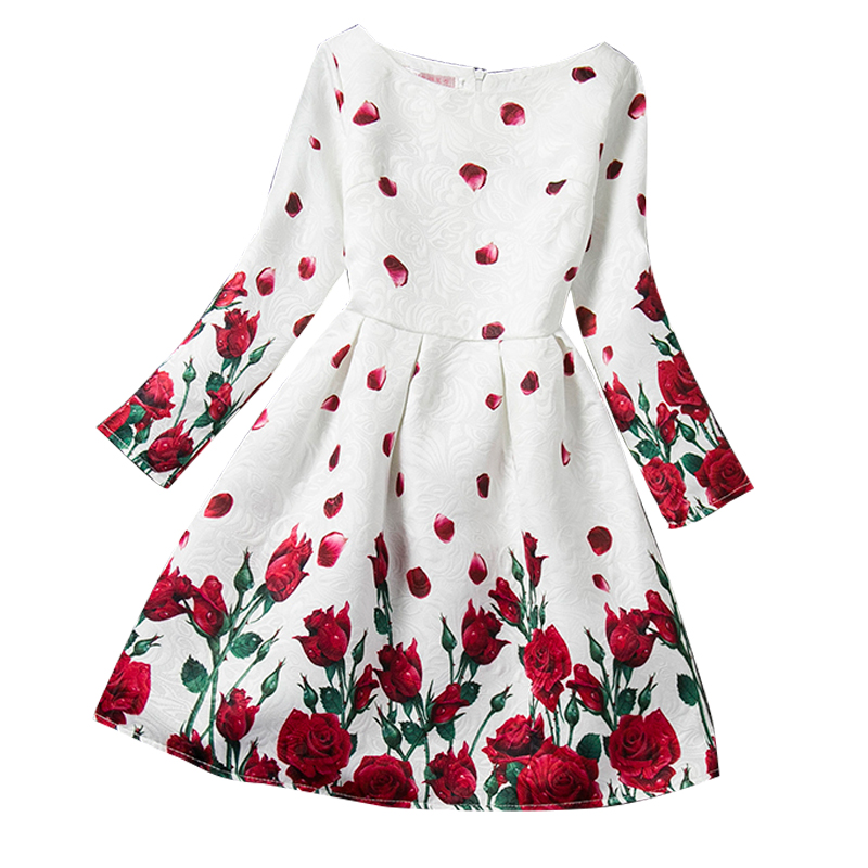 Long Sleeve Baby Girl Print Dresses O-Neck Kids Clothing Rose Flower Pattern Girl Princess Birthday Party Dress Clothes 12 Years summer girl dresses trade clothing in european and american style age for 3 12 years baby girl clothes with rose jacquard kids