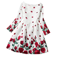 Long Sleeve Baby Girl Print Dresses O-Neck Kids Clothing Rose Flower Pattern Girl Princess Birthday Party Dress Clothes 12 Years