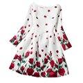 Vestidos de Niña de Impresión de Manga larga Del O-cuello Niños Ropa Rosa Patrón de Flor de la Princesa Fiesta de Cumpleaños Vestido de Ropa de 12 Años