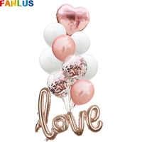 10pcs/lot Rose Gold LOVE 22inch Aluminum Foil Heart Balloons Confetti Balloon Happy Birthday Anniversary Party Decoration Balony