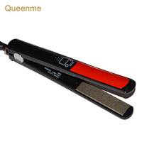 Queenme LCD Digital Titanium Plates Flat Iron Straightening Irons Styling Tools Professional MCH Hair Straightener Brush