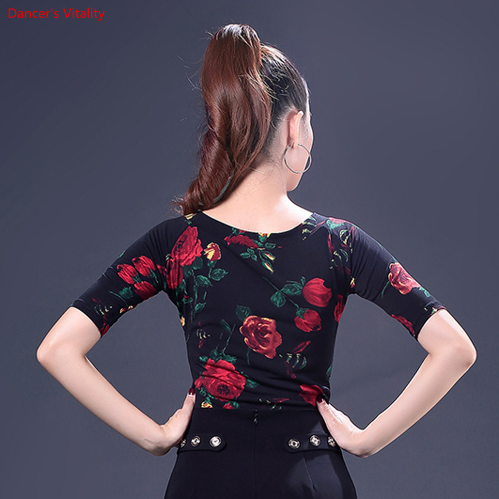 Image 5 - Fashion Print Latin Dance Tops New Adult Female Half Sleeved Practice Clothes Women Ballroom Dance Stage Performance CostumesLatin   -